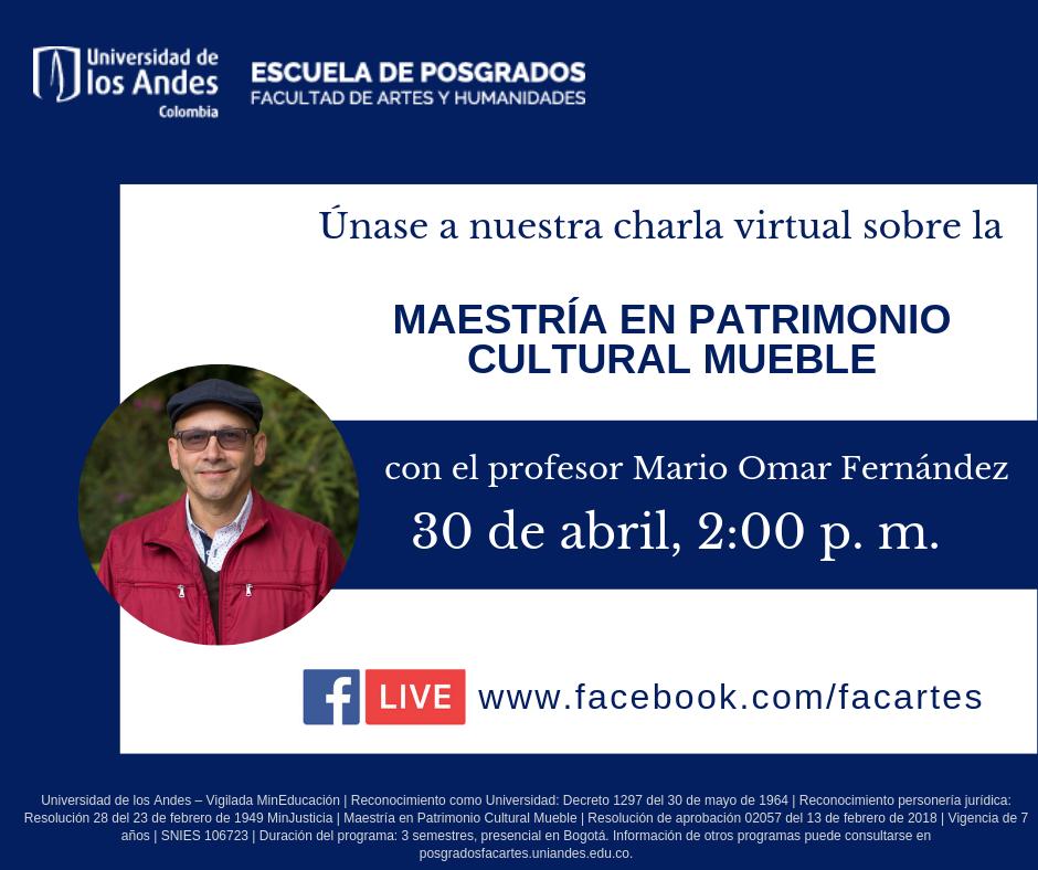 Charla virtual sobre la Maestría en Patrimonio Cultural Mueble